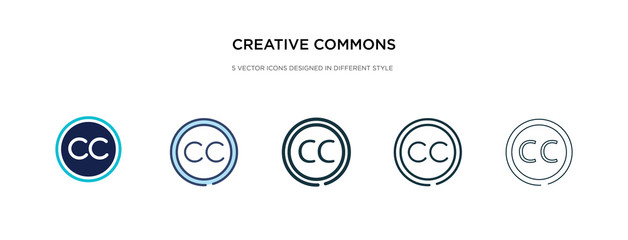 creative commons icon in different style vector illustration. two colored and black creative commons vector icons designed in filled, outline, line and stroke style can be used for web, mobile, ui