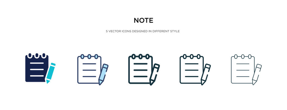 note icon in different style vector illustration. two colored and black note vector icons designed in filled, outline, line and stroke style can be used for web, mobile, ui