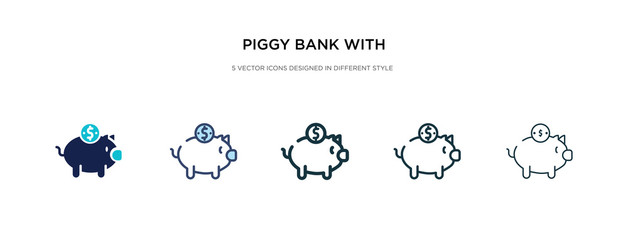 piggy bank with coin icon in different style vector illustration. two colored and black piggy bank with coin vector icons designed in filled, outline, line and stroke style can be used for web,