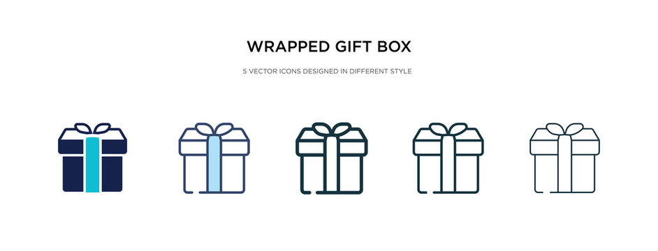 wrapped gift box with ribbon icon in different style vector illustration. two colored and black wrapped gift box with ribbon vector icons designed in filled, outline, line and stroke style can be
