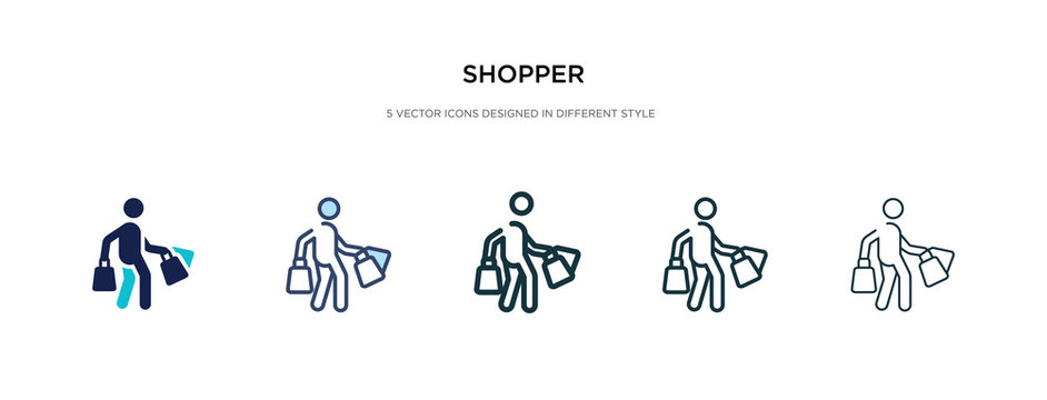 shopper icon in different style vector illustration. two colored and black shopper vector icons designed in filled, outline, line and stroke style can be used for web, mobile, ui