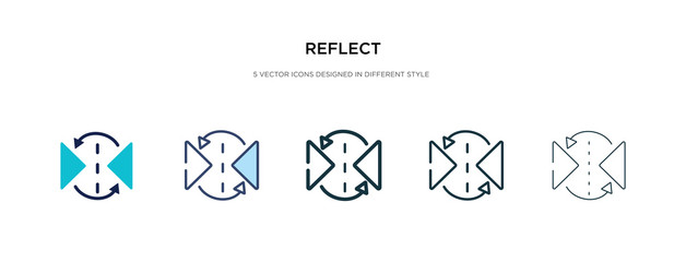 reflect icon in different style vector illustration. two colored and black reflect vector icons designed in filled, outline, line and stroke style can be used for web, mobile, ui