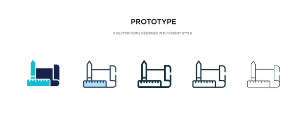 prototype icon in different style vector illustration. two colored and black prototype vector icons designed in filled, outline, line and stroke style can be used for web, mobile, ui
