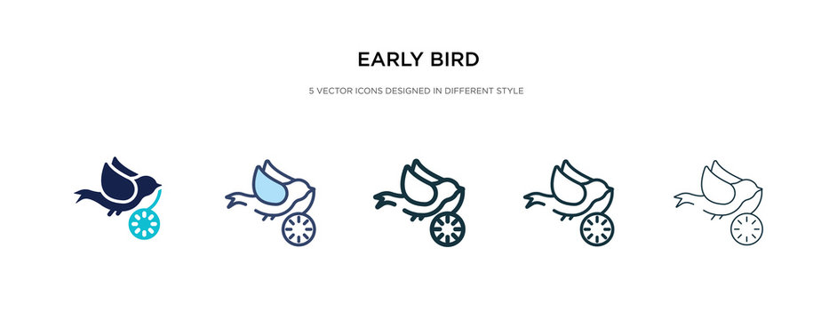 early bird icon in different style vector illustration. two colored and black early bird vector icons designed in filled, outline, line and stroke style can be used for web, mobile, ui