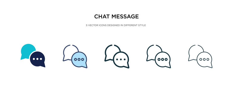 chat message icon in different style vector illustration. two colored and black chat message vector icons designed in filled, outline, line and stroke style can be used for web, mobile, ui