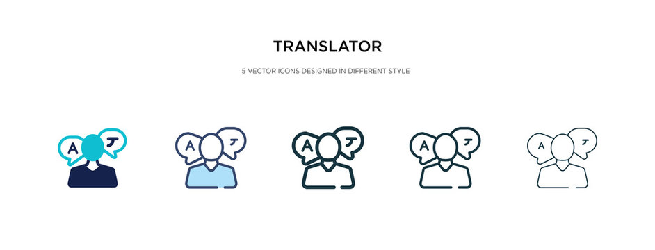translator icon in different style vector illustration. two colored and black translator vector icons designed in filled, outline, line and stroke style can be used for web, mobile, ui