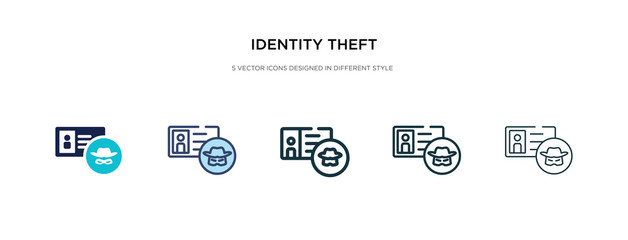 identity theft icon in different style vector illustration. two colored and black identity theft vector icons designed in filled, outline, line and stroke style can be used for web, mobile, ui