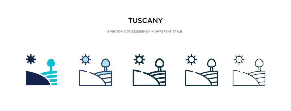 tuscany icon in different style vector illustration. two colored and black tuscany vector icons designed in filled, outline, line and stroke style can be used for web, mobile, ui