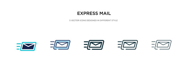 express mail icon in different style vector illustration. two colored and black express mail vector icons designed in filled, outline, line and stroke style can be used for web, mobile, ui