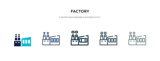 Fototapeta factory icon in different style vector illustration. two colored and black factory vector icons designed in filled, outline, line and stroke style can be used for web, mobile, ui obraz