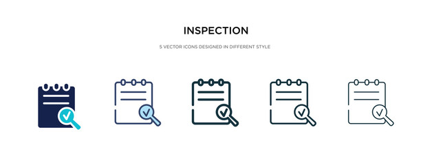 inspection icon in different style vector illustration. two colored and black inspection vector icons designed in filled, outline, line and stroke style can be used for web, mobile, ui