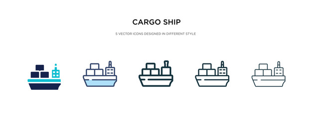 cargo ship icon in different style vector illustration. two colored and black cargo ship vector icons designed in filled, outline, line and stroke style can be used for web, mobile, ui