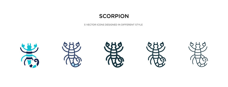 scorpion icon in different style vector illustration. two colored and black scorpion vector icons designed in filled, outline, line and stroke style can be used for web, mobile, ui
