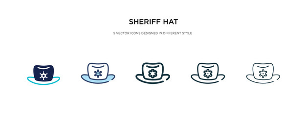 sheriff hat icon in different style vector illustration. two colored and black sheriff hat vector icons designed in filled, outline, line and stroke style can be used for web, mobile, ui