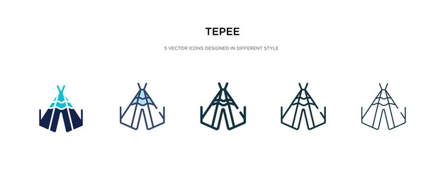 tepee icon in different style vector illustration. two colored and black tepee vector icons designed in filled, outline, line and stroke style can be used for web, mobile, ui