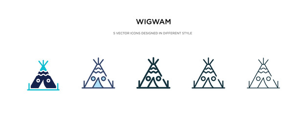 wigwam icon in different style vector illustration. two colored and black wigwam vector icons designed in filled, outline, line and stroke style can be used for web, mobile, ui