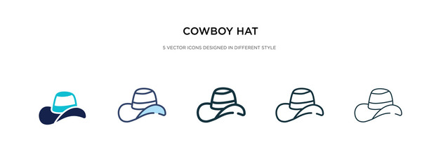 cowboy hat icon in different style vector illustration. two colored and black cowboy hat vector icons designed in filled, outline, line and stroke style can be used for web, mobile, ui
