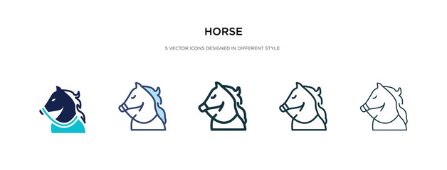 horse icon in different style vector illustration. two colored and black horse vector icons designed in filled, outline, line and stroke style can be used for web, mobile, ui