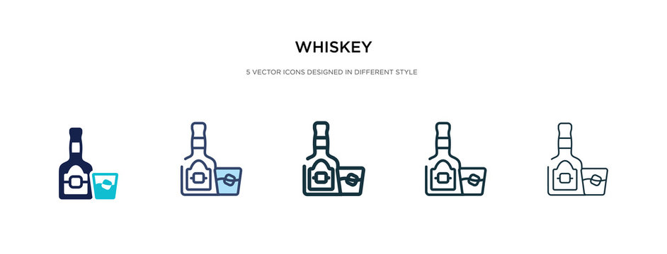 whiskey icon in different style vector illustration. two colored and black whiskey vector icons designed in filled, outline, line and stroke style can be used for web, mobile, ui