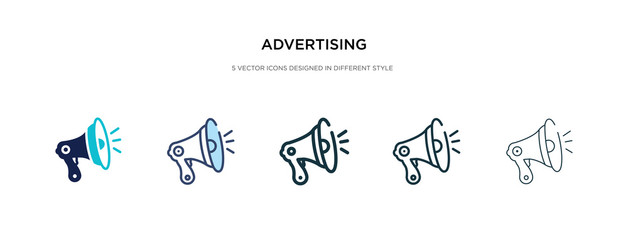 advertising icon in different style vector illustration. two colored and black advertising vector icons designed in filled, outline, line and stroke style can be used for web, mobile, ui