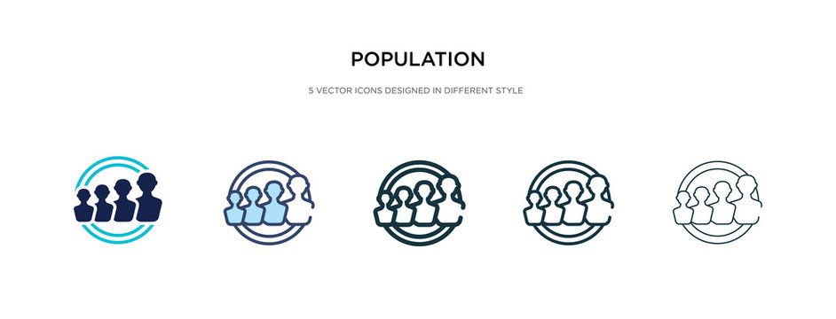 population icon in different style vector illustration. two colored and black population vector icons designed in filled, outline, line and stroke style can be used for web, mobile, ui