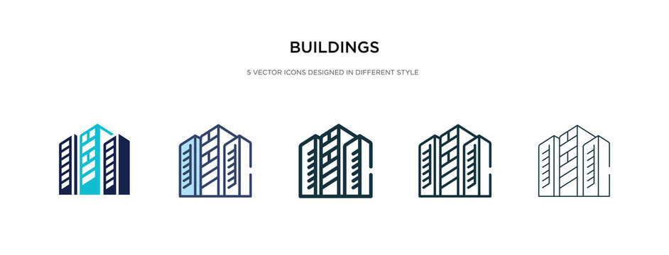 buildings icon in different style vector illustration. two colored and black buildings vector icons designed in filled, outline, line and stroke style can be used for web, mobile, ui