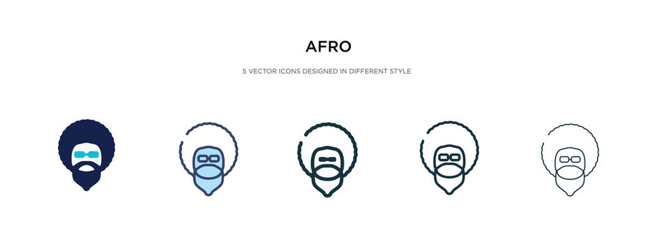 afro icon in different style vector illustration. two colored and black afro vector icons designed in filled, outline, line and stroke style can be used for web, mobile, ui
