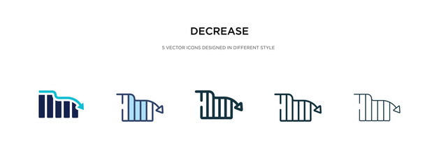 decrease icon in different style vector illustration. two colored and black decrease vector icons designed in filled, outline, line and stroke style can be used for web, mobile, ui