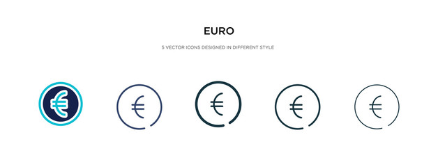 euro icon in different style vector illustration. two colored and black euro vector icons designed in filled, outline, line and stroke style can be used for web, mobile, ui