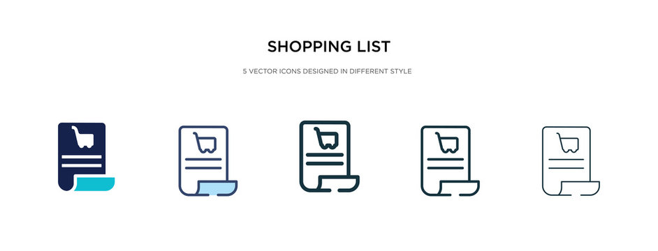 shopping list icon in different style vector illustration. two colored and black shopping list vector icons designed in filled, outline, line and stroke style can be used for web, mobile, ui
