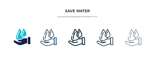 save water icon in different style vector illustration. two colored and black save water vector icons designed in filled, outline, line and stroke style can be used for web, mobile, ui