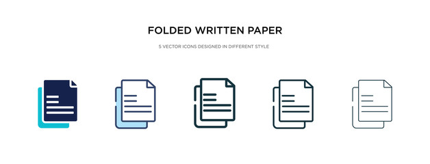 folded written paper icon in different style vector illustration. two colored and black folded written paper vector icons designed in filled, outline, line and stroke style can be used for web, Fototapete