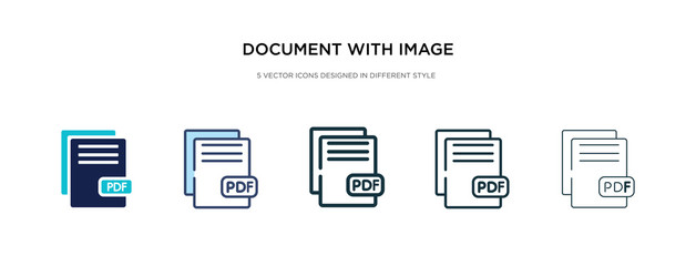 document with image and content icon in different style vector illustration. two colored and black document with image and content vector icons designed in filled, outline, line stroke style can be