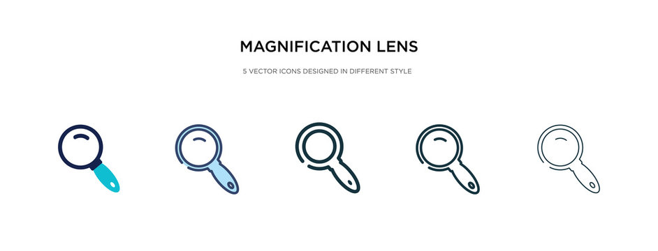 magnification lens icon in different style vector illustration. two colored and black magnification lens vector icons designed in filled, outline, line and stroke style can be used for web, mobile,