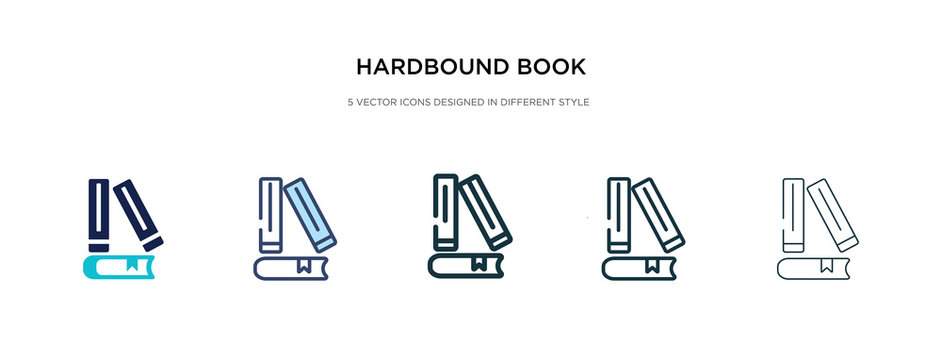 hardbound book icon in different style vector illustration. two colored and black hardbound book vector icons designed in filled, outline, line and stroke style can be used for web, mobile, ui
