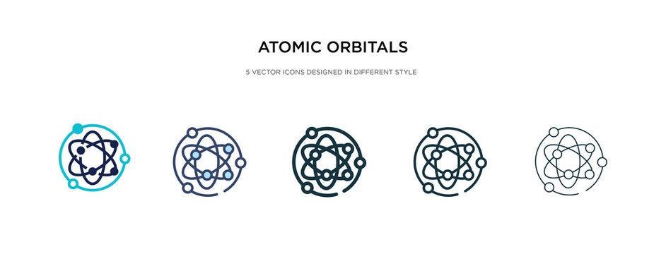 atomic orbitals icon in different style vector illustration. two colored and black atomic orbitals vector icons designed in filled, outline, line and stroke style can be used for web, mobile, ui