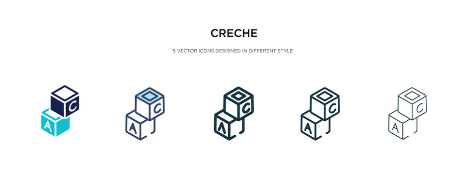creche icon in different style vector illustration. two colored and black creche vector icons designed in filled, outline, line and stroke style can be used for web, mobile, ui