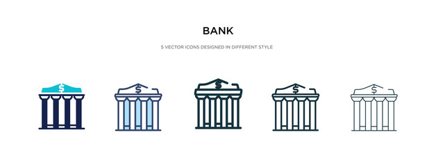 bank icon in different style vector illustration. two colored and black bank vector icons designed in filled, outline, line and stroke style can be used for web, mobile, ui - fototapety na wymiar