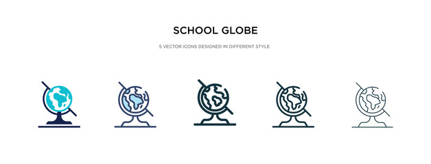 school globe icon in different style vector illustration. two colored and black school globe vector icons designed in filled, outline, line and stroke style can be used for web, mobile, ui