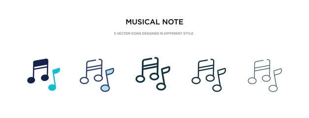 musical note icon in different style vector illustration. two colored and black musical note vector icons designed in filled, outline, line and stroke style can be used for web, mobile, ui