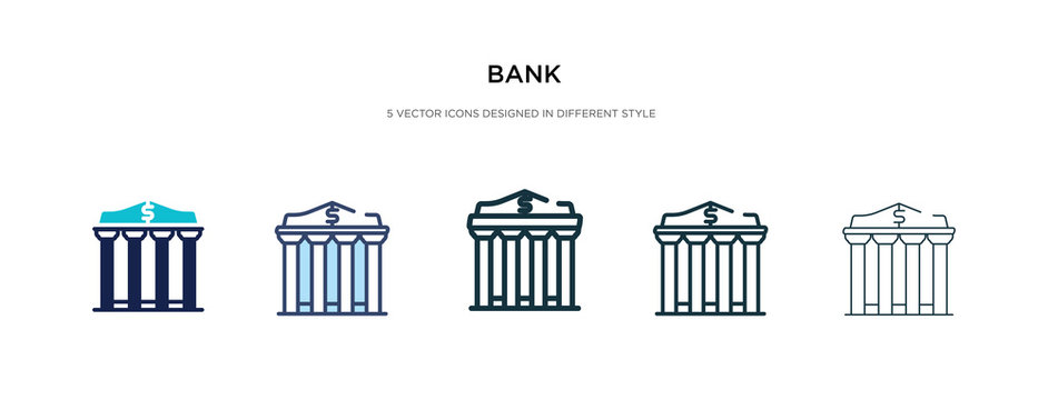 bank icon in different style vector illustration. two colored and black bank vector icons designed in filled, outline, line and stroke style can be used for web, mobile, ui