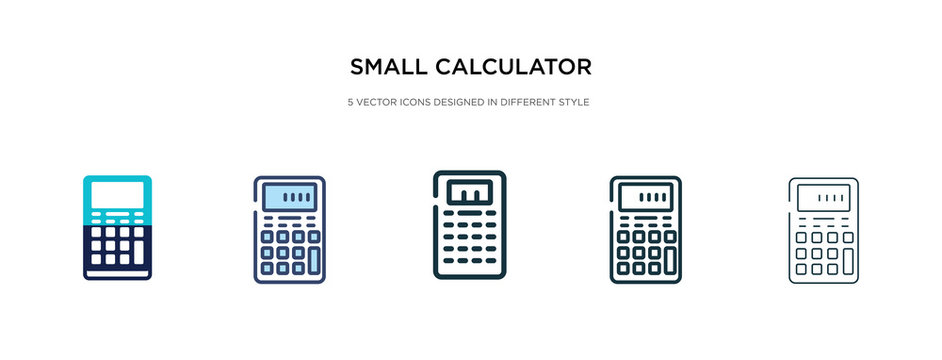 small calculator icon in different style vector illustration. two colored and black small calculator vector icons designed in filled, outline, line and stroke style can be used for web, mobile, ui