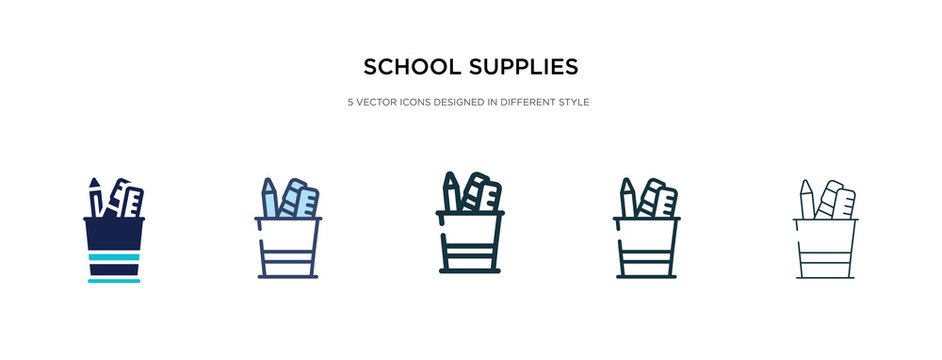 school supplies icon in different style vector illustration. two colored and black school supplies vector icons designed in filled, outline, line and stroke style can be used for web, mobile, ui