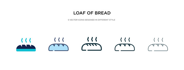 loaf of bread icon in different style vector illustration. two colored and black loaf of bread vector icons designed in filled, outline, line and stroke style can be used for web, mobile, ui
