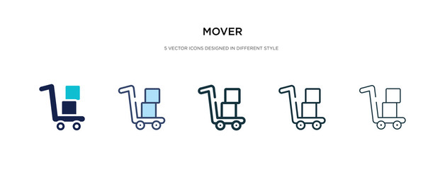 mover icon in different style vector illustration. two colored and black mover vector icons designed in filled, outline, line and stroke style can be used for web, mobile, ui