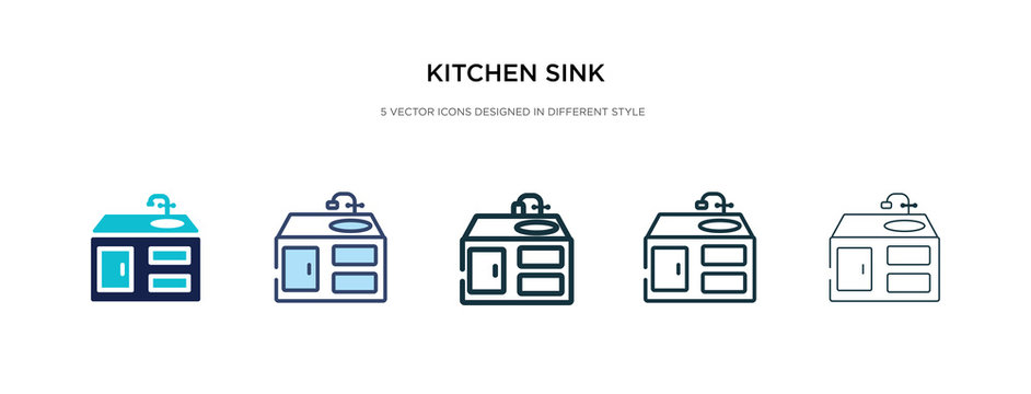 kitchen sink icon in different style vector illustration. two colored and black kitchen sink vector icons designed in filled, outline, line and stroke style can be used for web, mobile, ui
