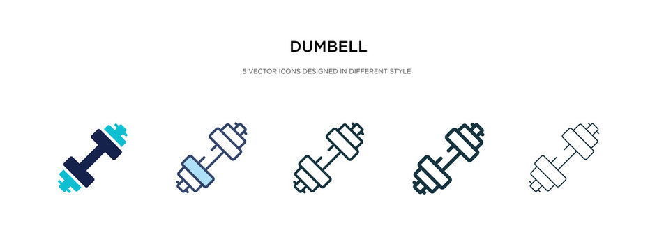 dumbell icon in different style vector illustration. two colored and black dumbell vector icons designed in filled, outline, line and stroke style can be used for web, mobile, ui