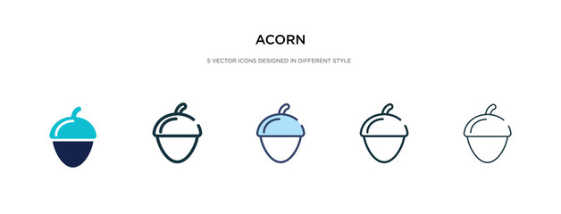 acorn icon in different style vector illustration. two colored and black acorn vector icons designed in filled, outline, line and stroke style can be used for web, mobile, ui