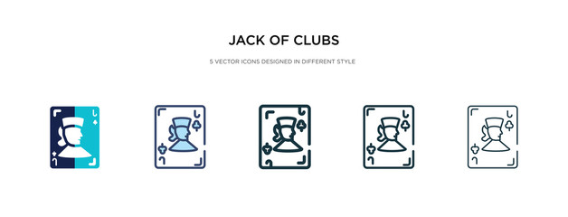 jack of clubs icon in different style vector illustration. two colored and black jack of clubs vector icons designed in filled, outline, line and stroke style can be used for web, mobile, ui
