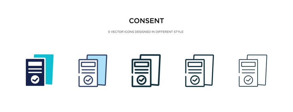 consent icon in different style vector illustration. two colored and black consent vector icons designed in filled, outline, line and stroke style can be used for web, mobile, ui